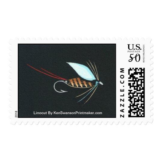 Linocut:  Fly Fishing By Ken Swanson Postage