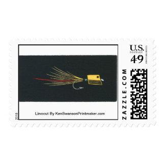 Linocut:  Fly Fishing By Ken Swanson Stamp