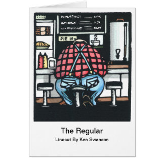 Linocut: Large Man at Lunch Counter by Ken Swanson Greeting Card