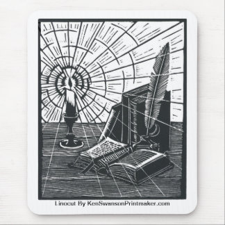 Linocut of Book and Candle By Ken Swanson Mouse Pad