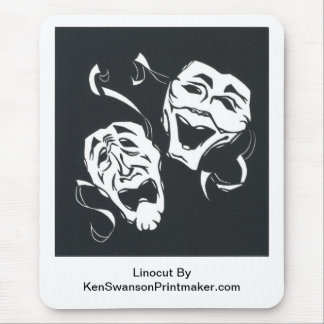 Linocut of Comedy & Tragedy By Ken Swanson Mouse Pad