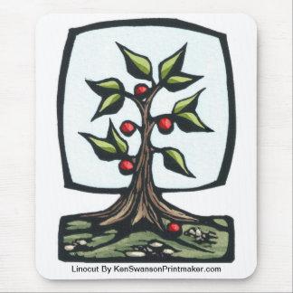 Linocut of Fruit Tree By Ken Swanson Mouse Pad