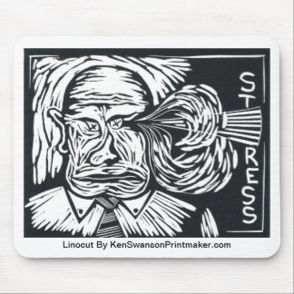 Linocut of Man Under Stress By Ken Swanson Mouse Pad