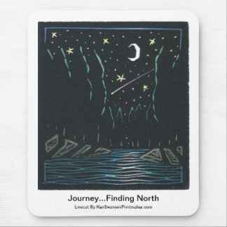 Linocut of Night Scene With Comet By Ken Swanson Mouse Pad