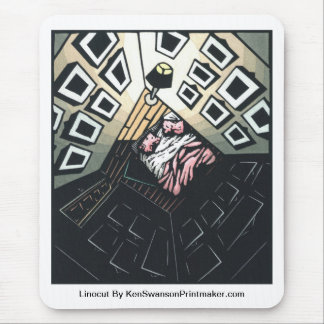 Linocut of Room with Bed By Ken Swanson Mouse Pad