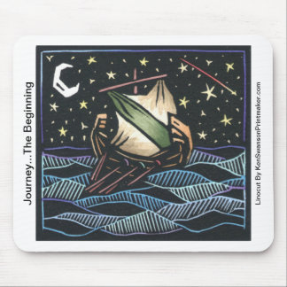 Linocut of Sailing Ship By Ken Swanson Mouse Pad