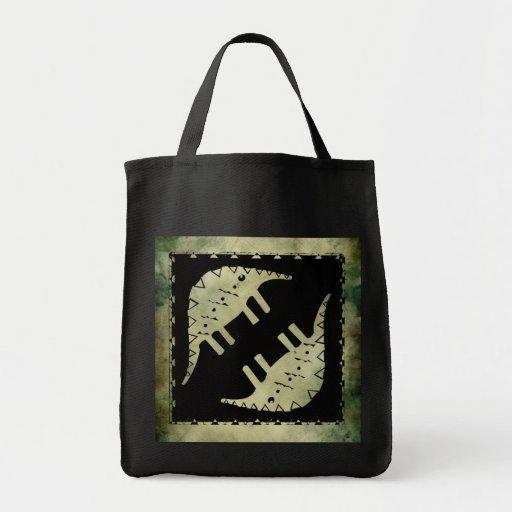 linocut simbólico africano aborigen bolsas de mano