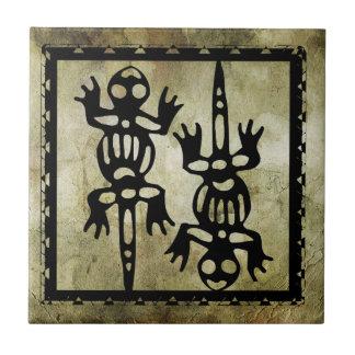 linocut simbólico africano tejas  ceramicas