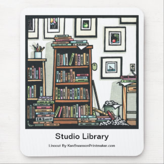 """Linocut """"Studio Library"""" By Ken Swanson Mouse Pad"""