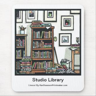 """Linocut """"Studio Library"""" By Ken Swanson Mousepads"""