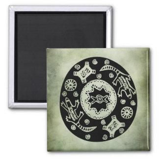 linocut tribal africano antiguo de los símbolos imán cuadrado
