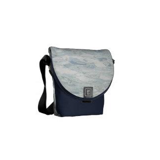 Linóleo retro azul de la cocina de los mediados de bolsa messenger