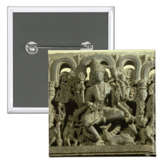 Lintel depicting The Trinity: Siva, Brahma and Vis 2 Inch Square Button
