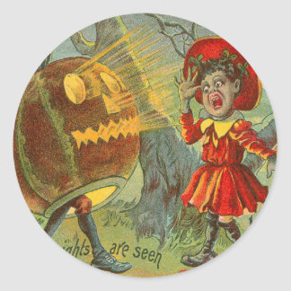 Linterna asustada de Jack O de la Luna Llena del Pegatina Redonda
