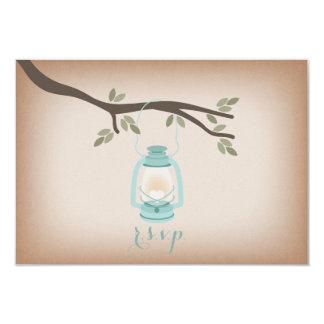 """Linterna azul clara inspirada de papel de tarjetas invitación 3.5"""" x 5"""""""