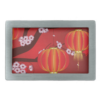Linterna china con la rama 4 de Sakura Hebillas De Cinturon Rectangulares