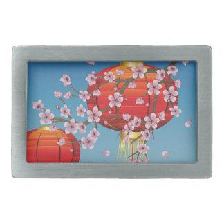Linterna china con la rama de Sakura Hebillas Cinturón Rectangulares