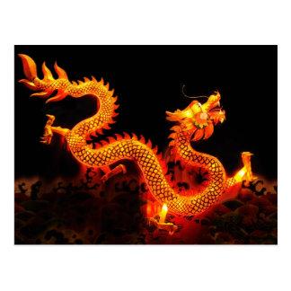 Linterna china del dragón tarjeta postal
