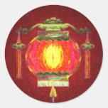 Linterna china que brilla intensamente etiqueta redonda