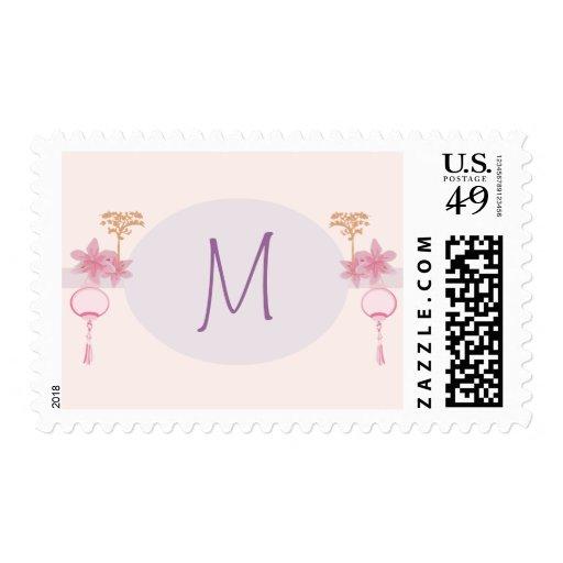 Linterna de 20 sellos/flores rosadas púrpuras Asia