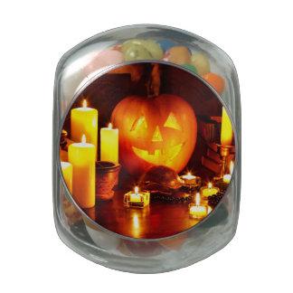 Linterna de la calabaza de Halloween Jarras De Cristal