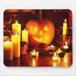 Linterna de la calabaza de Halloween Tapetes De Ratón
