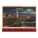 Linterna de Maine, Portland, cabo Elisabeth Tarjeta Postal