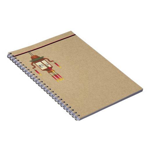 Linterna de papel asiática libros de apuntes con espiral