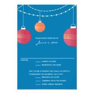 Linterna de papel roja y anaranjada que casa RSVP Invitación 8,9 X 12,7 Cm