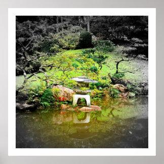 Linterna de piedra japonesa póster