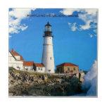 Linterna de Portland, práctico de costa de Maine Azulejo Cuadrado Pequeño
