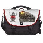 Linterna del ferrocarril y locomotora de vapor roj bolsas de portátil