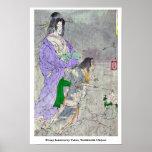 Linterna del Peony por Taiso, Yoshitoshi Ukiyoe Posters