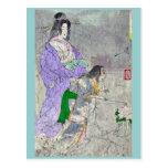 Linterna del Peony por Taiso, Yoshitoshi Ukiyoe Postal