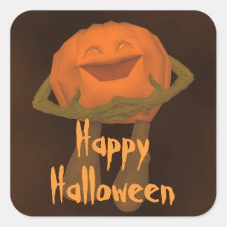 Linterna divertida tonta Halloween de Jack o Pegatina Cuadrada
