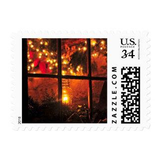 Linterna en la noche timbre postal