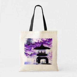 Linterna japonesa artsy del jardín del estilo de l bolsa tela barata