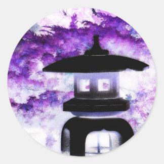 Linterna japonesa artsy del jardín del estilo de pegatina redonda