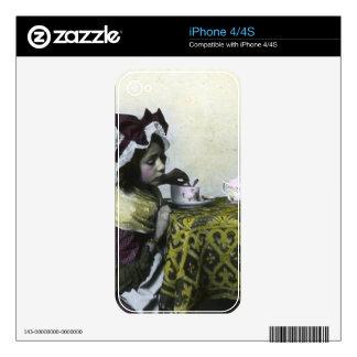 Linterna mágica del vintage del tiempo del té del skins para eliPhone 4