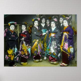 Linterna mágica hermosa del geisha japonés del póster