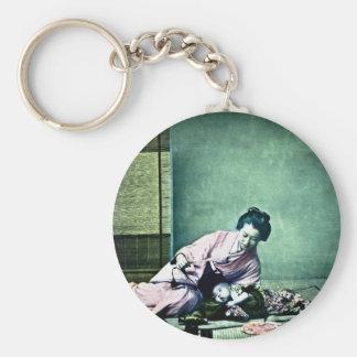 Linterna mágica japonesa del vintage de la madre y llavero personalizado