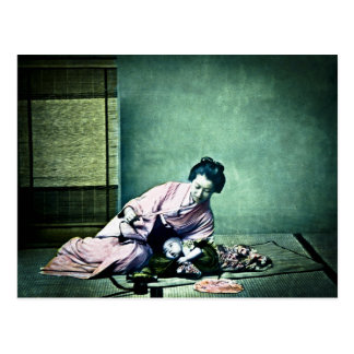 Linterna mágica japonesa del vintage de la madre y postal
