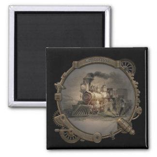 Linterna mágica - marco del estilo de Steampunk Imán Cuadrado
