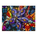 Linterna púrpura de la estrella tarjetas postales