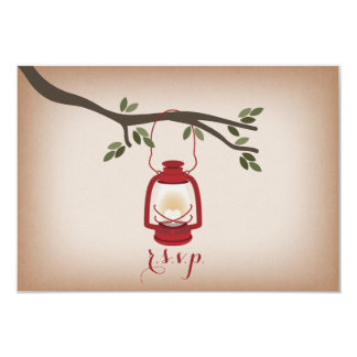 "Linterna que acampa roja inspirada de papel de invitación 3.5"" x 5"""