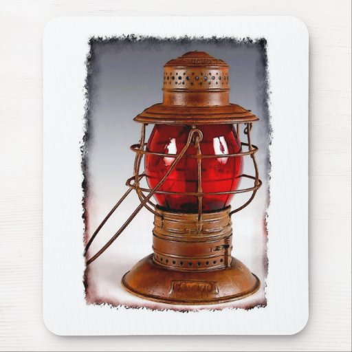 Linterna roja del ferrocarril del vintage tapete de ratón