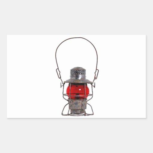 Linterna roja pegatina rectangular