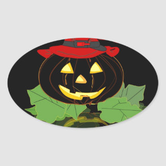 linterna sonriente del feliz Halloween de la Pegatina Ovalada