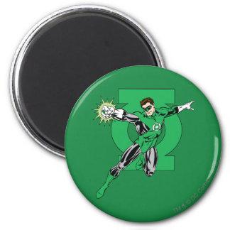 Linterna verde con el fondo del logotipo imán redondo 5 cm