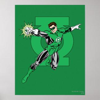Linterna verde con el fondo del logotipo póster